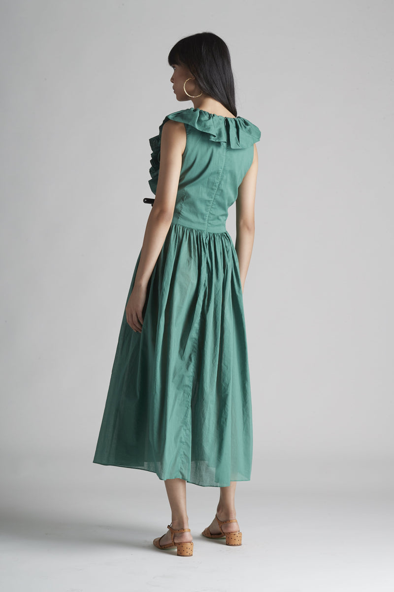 Ruffle Front Dress in Cotton Voile