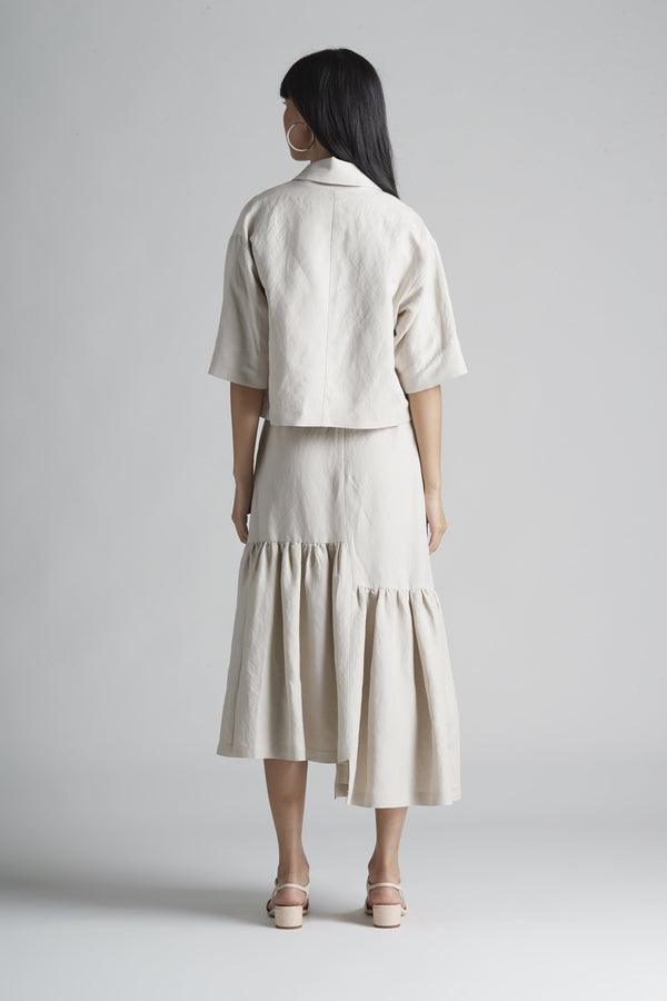 Double Breasted Notch Collar Shacket in Linen