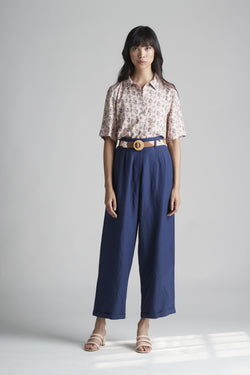 Cuffed Pleated Barrel Trouser