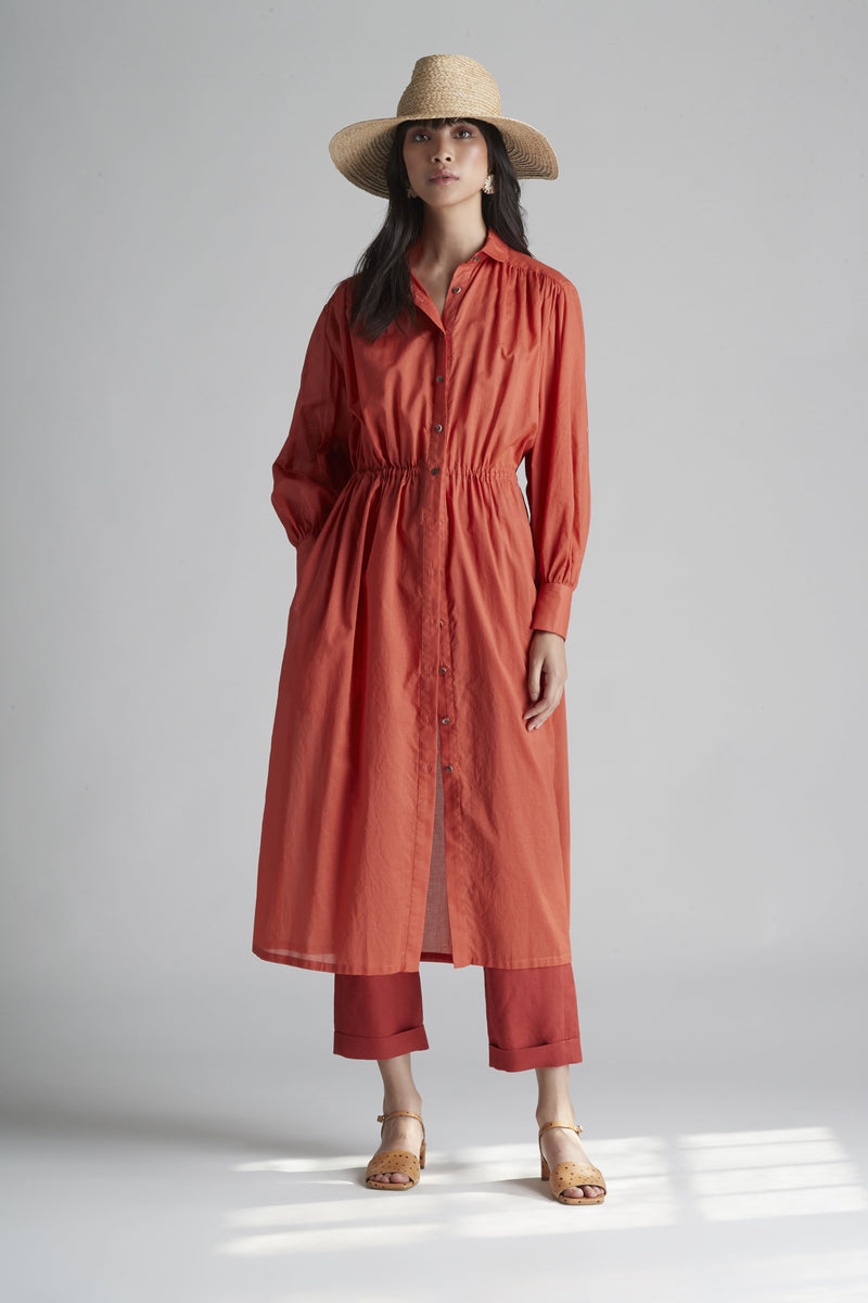 Long Sleeve Tie Waist Shirt Dress in Cotton Voile