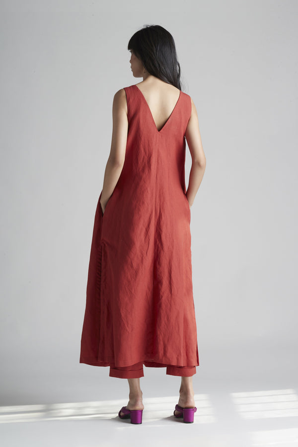 Button Front Tank Maxi Dress in Linen