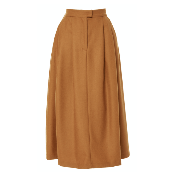 Wool Pleated Midi Skirt