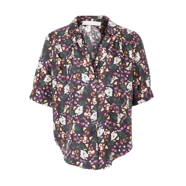 Short Sleeve Button Down in Aubergine Print