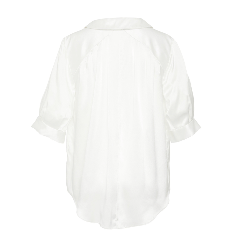 Short Sleeve Button Down in Silk Charmeuse