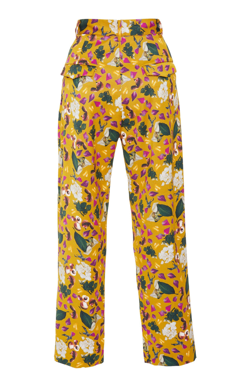 Pleated Trouser in Saffron Print