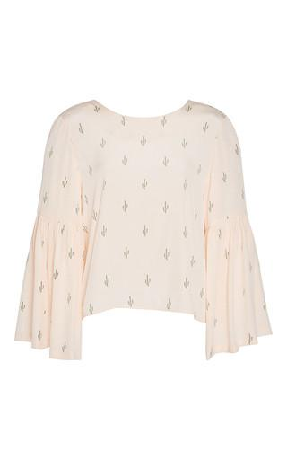 Silk Print Gathered Sleeve Blouse