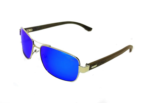 Aviator Square Frame with Blue Reflective Lenses