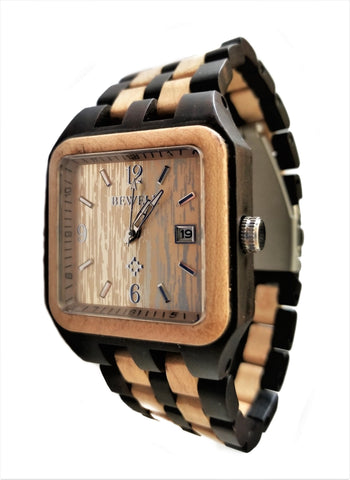 Square Ebony Wood Watch With Maple Wood Inlay