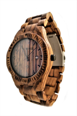 Brown All Zebra Wood Watch