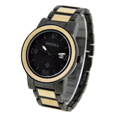 Glossy Steel Watch With Bamboo Inlay - T Jay's