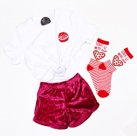 Mini Kiss Tee - RED/WHT