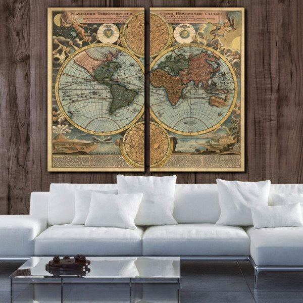 1700's Vintage World Map Canvas Wall Art - Canvas Wall Art - HolyCowCanvas