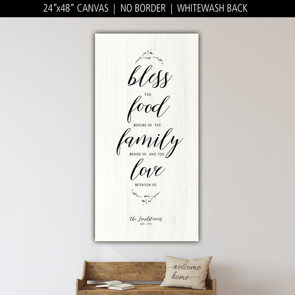 Bless The Food Before Us Large Farmhouse Sign - Canvas Wall Art - HolyCowCanvas