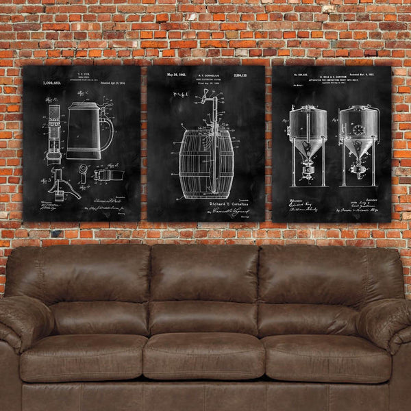 Beer Patent Print Art on Canvas - Set of 3 or 4 - Canvas Wall Art - HolyCowCanvas