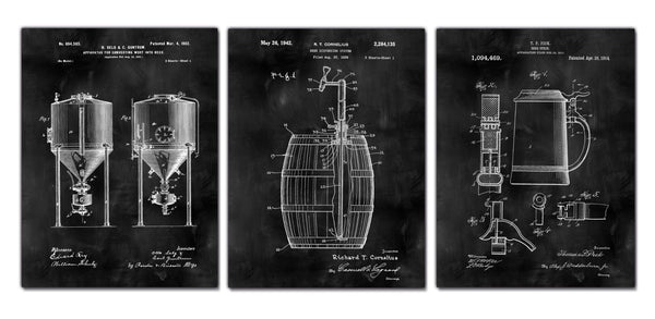 Beer Patent Art Canvas Framed & Ready to hang. Set of 3 or 4. - Canvas Wall Art - HolyCowCanvas