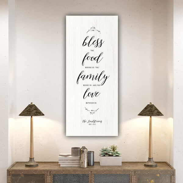 Bless The Food Before Us Sign on Canvas - Canvas Wall Art - HolyCowCanvas