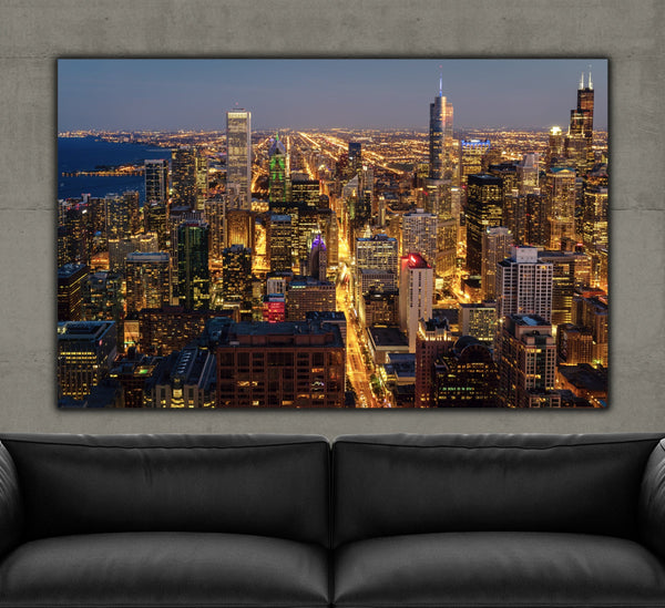 Chicago Skyline Magnificent Mile on Canvas - Canvas Wall Art - HolyCowCanvas