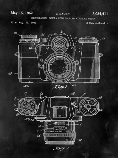 Travel Patent Camera Print Art on Canvas - Canvas Wall Art - HolyCowCanvas
