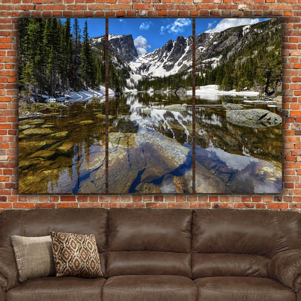 Rocky Mountain National Park Dream Lake and Blue Skies - Canvas Wall Art - HolyCowCanvas