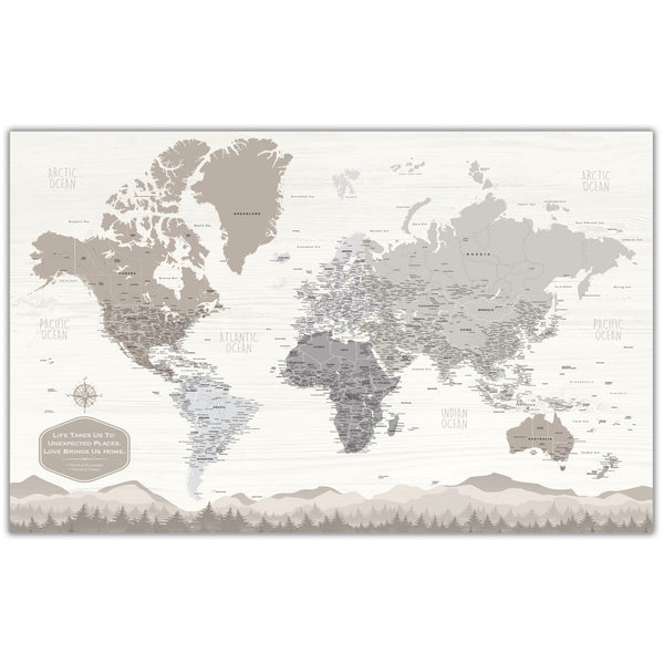 Farmhouse Personalized Push Pin World Map - Single Panel