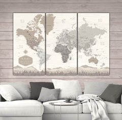 Farmhouse Personalized Push Pin World Map - 3 Panel - Canvas Wall Art - HolyCowCanvas