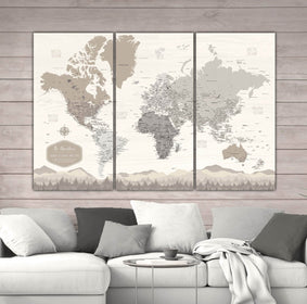 Farmhouse Personalized Push Pin World Map - 3 Panel