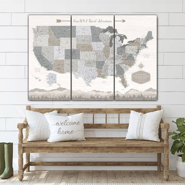 Farmhouse Push Pin USA Map - Single Panel - Canvas Wall Art - HolyCowCanvas