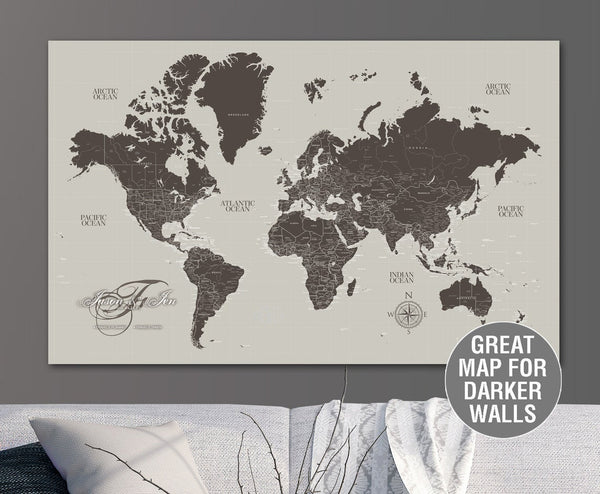 Greige & Taupe Push Pin Travel Map of the World