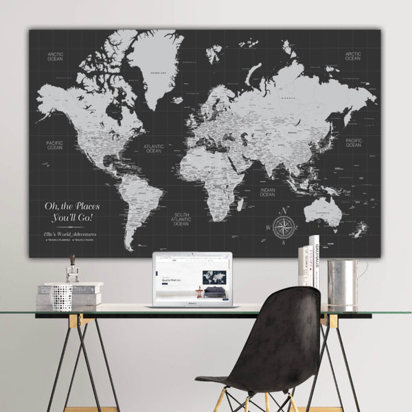 Graduation Push Pin World Map - 1 Panel - Canvas Wall Art - HolyCowCanvas