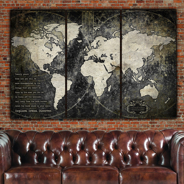Industrial Push Pin World Map - No Cities, 3 Panels - Canvas Wall Art - HolyCowCanvas