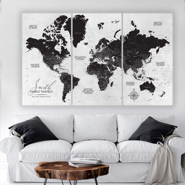 Black & White Three Panel Push Pin Map - Canvas Wall Art - HolyCowCanvas