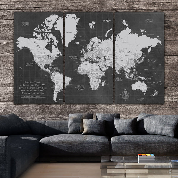 Grey Push Pin World Map - 3 Panels - Canvas Wall Art - HolyCowCanvas