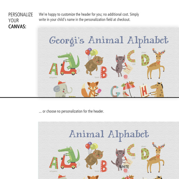Animal Alphabet Canvas Wall Art