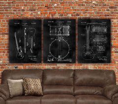 Music Patent Print Set on Canvas - Canvas Wall Art - HolyCowCanvas