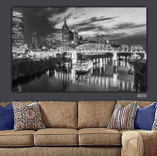 Nashville Skyline Canvas Wall Art - Canvas Wall Art - HolyCowCanvas