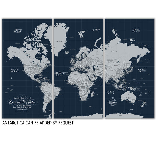 Navy Push Pin Travel Map of the World - 3 Panel