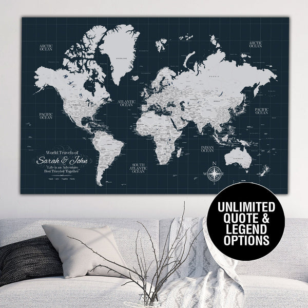 Navy Push Pin Travel Map of the World - Canvas Wall Art - HolyCowCanvas