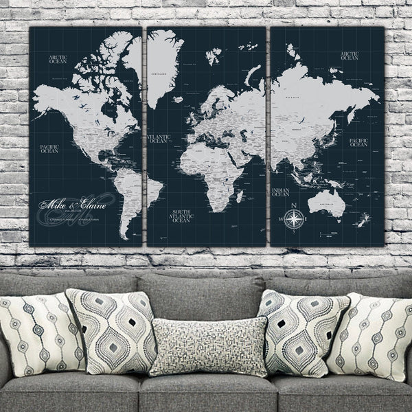 Navy Push Pin Travel Map of the World - 3 Panel - Canvas Wall Art - HolyCowCanvas
