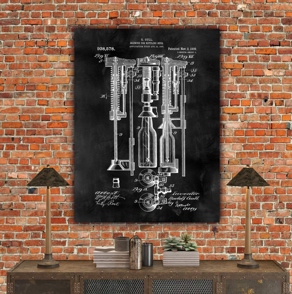 Beer Bottle Machine Patent Print on Canvas - Canvas Wall Art - HolyCowCanvas