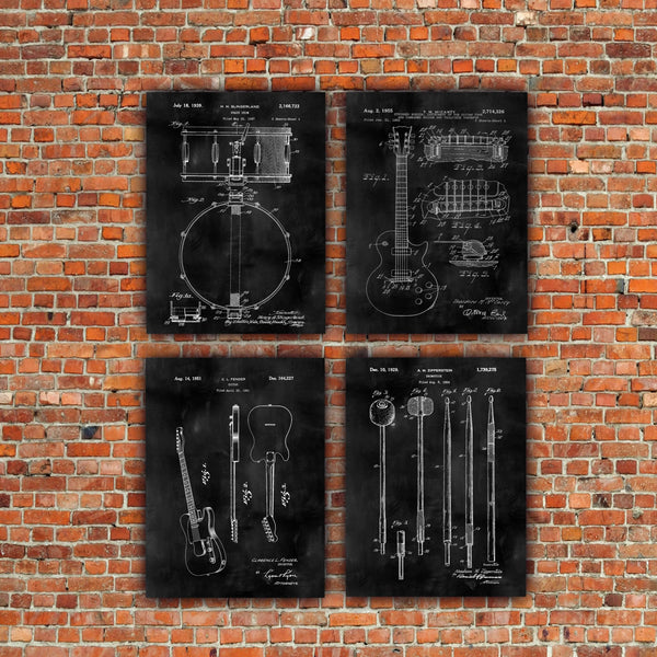 Music Patent Art Canvas Set.  Framed & Ready to hang. Set of 3 or 4. - Canvas Wall Art - HolyCowCanvas