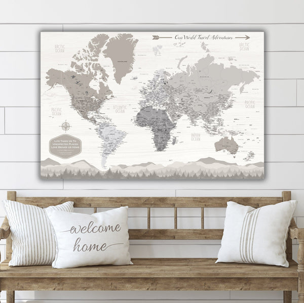 Farmhouse Personalized Push Pin World Map - Single Panel - Canvas Wall Art - HolyCowCanvas
