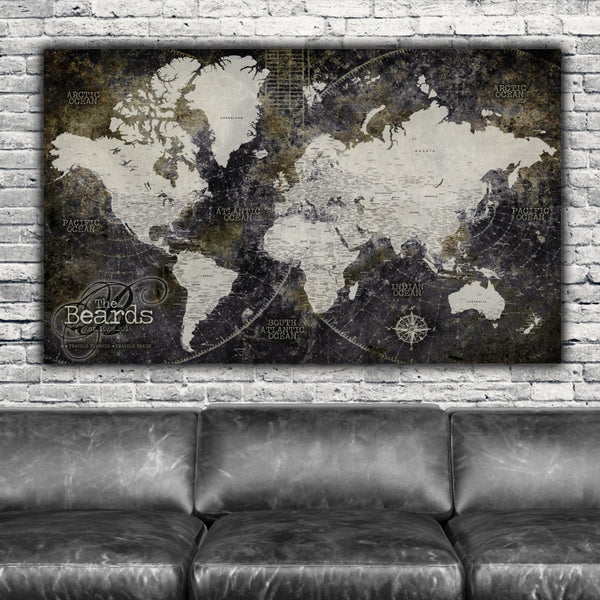 Industrial Detailed Push Pin Travel Map of the World - Single Panel - Canvas Wall Art - HolyCowCanvas
