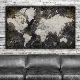 Industrial Detailed Push Pin World Map - 1 Panel