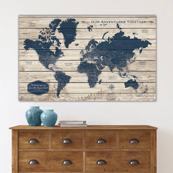 Rustic Wood Grain Push Pin World Map on Canvas - 1 Panel