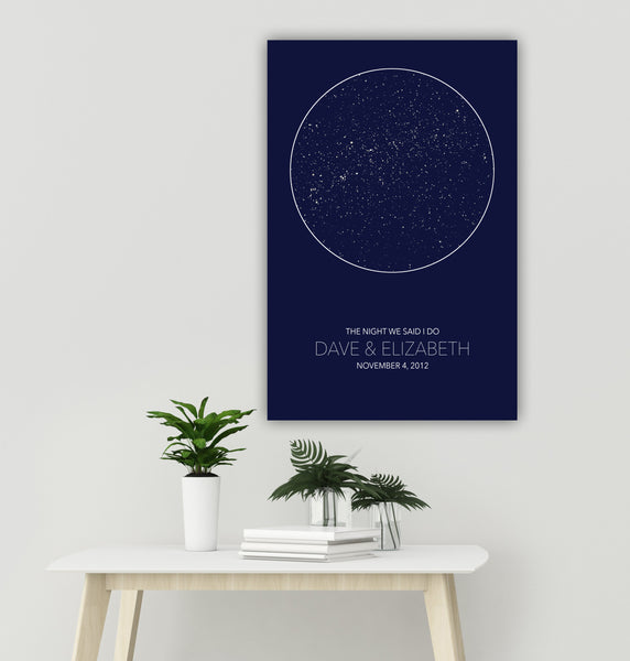 Solid Color Star Map Canvas Wall Art