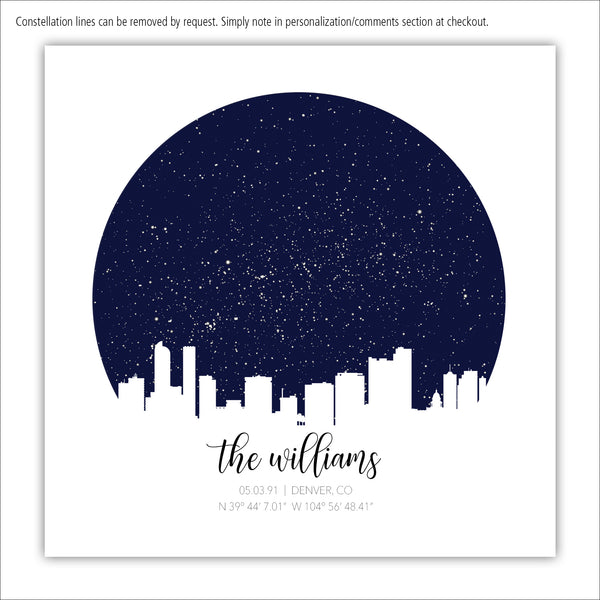 Square Skyline Star Map Canvas Wall Art
