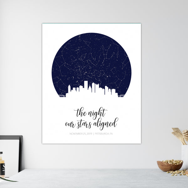 Large Skyline Star Map Canvas Wall Art