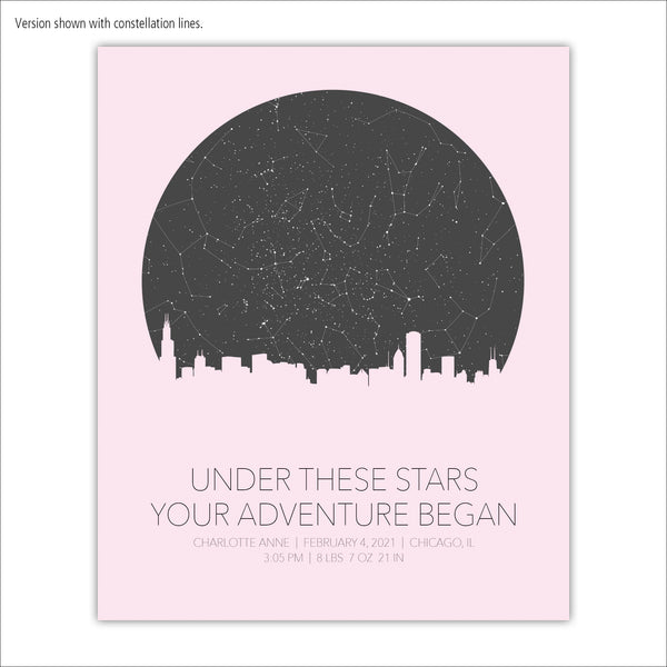 Newborn Star Map with City Skyline Canvas Wall Art