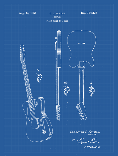 Fender Guitar Patent Print Art on Canvas - Canvas Wall Art - HolyCowCanvas