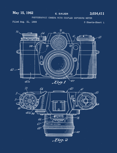 Camera Patent Print Art on Canvas - Canvas Wall Art - HolyCowCanvas